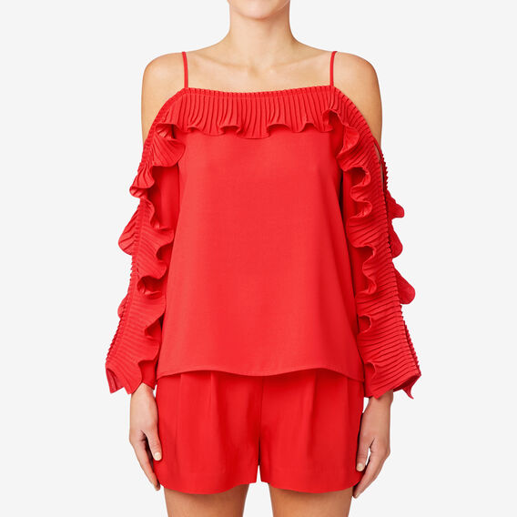 Pleat Detail Blouse  ROYAL RED  hi-res