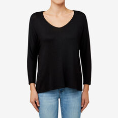 Relaxed 3/4 Sleeve Top  BLACK  hi-res