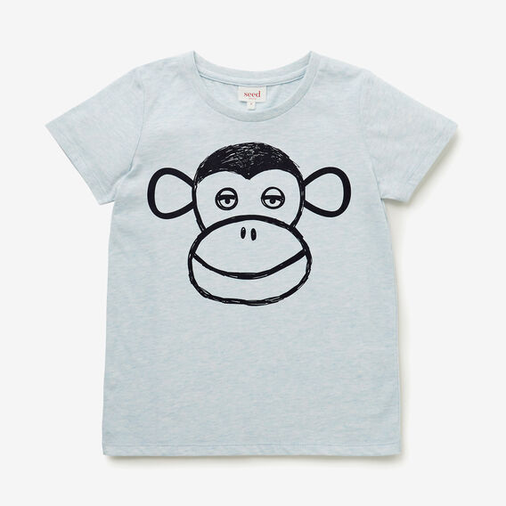 Monkey Face Tee  PACIFIC BLUE MARLE  hi-res