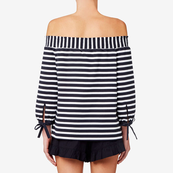 Off Shoulder Stripey Top  DEEP NAVY STRIPE  hi-res