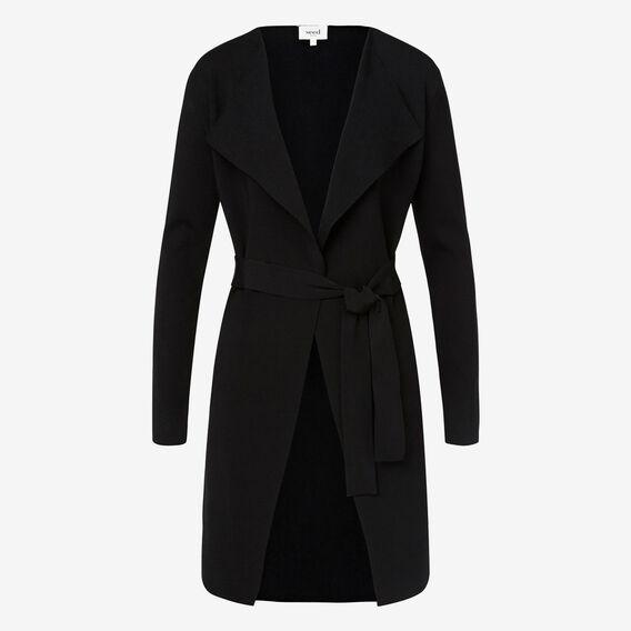 Longline Crepe Knit Cardigan  BLACK  hi-res