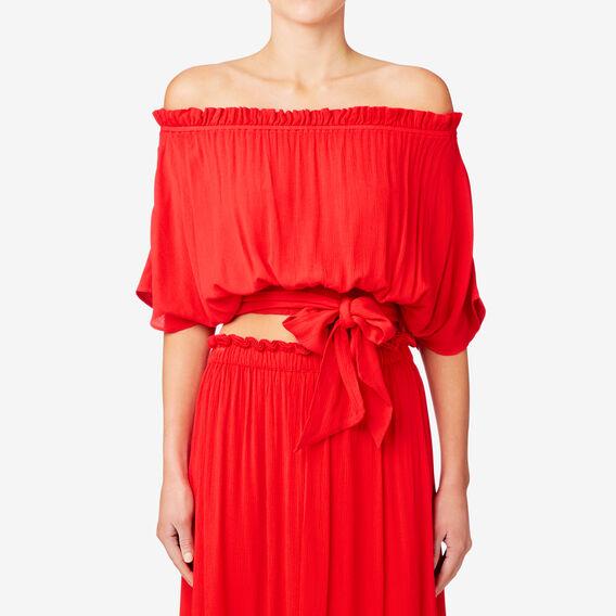 Off Shoulder Tie Hem Top  ROYAL RED  hi-res