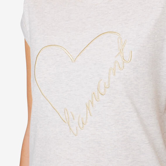 Gold Heart Tee  LIGHT GREY MARLE  hi-res
