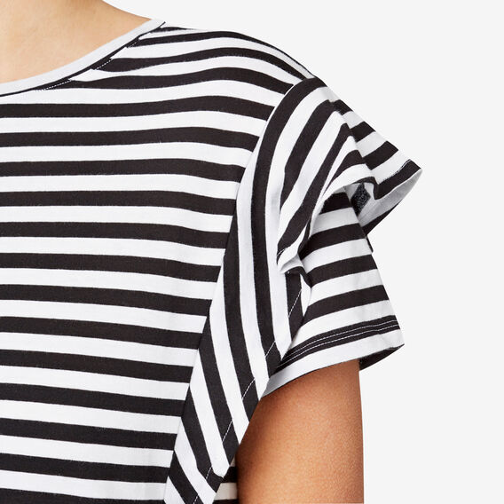 Frill Sleeve Tee  BLACK/WHITE STRIPE  hi-res