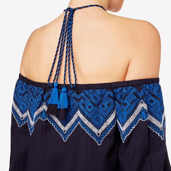Neck-Tie Off Shoulder Dress  INK BLUE  hi-res