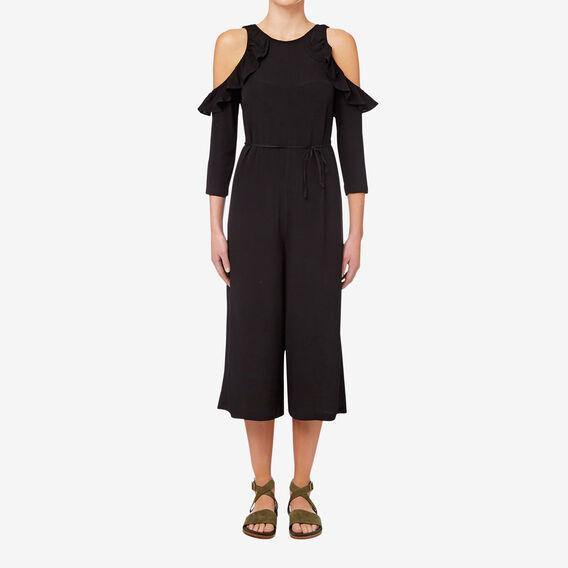 Cut Out Shoulder Jumpsuit  BLACK  hi-res