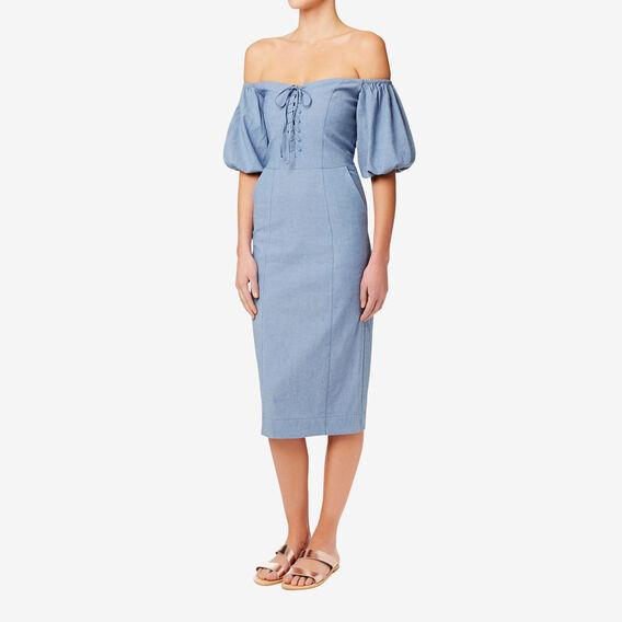 Corset Detail Dress  CROSS DYE CHAMBRAY  hi-res
