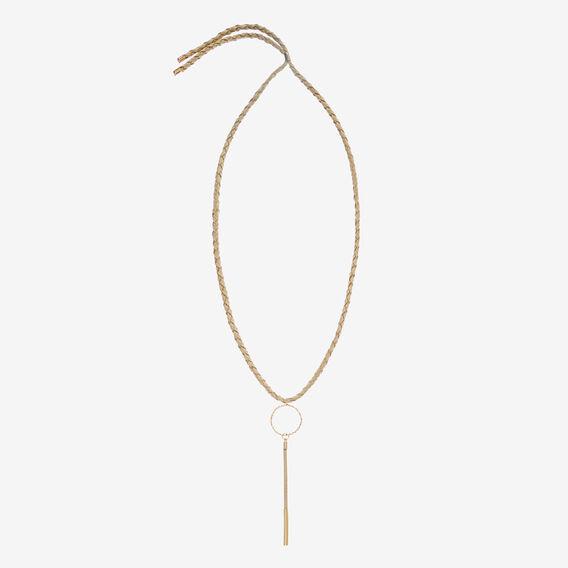 Suede Drop Bar Necklace  GOLD/NATURAL  hi-res