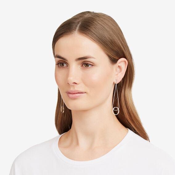 Hanging Ring Earrings  SILVER  hi-res