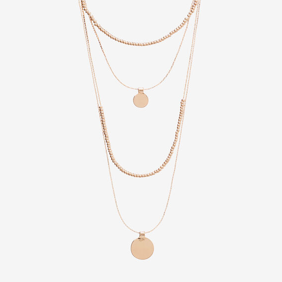 Layered Disc Charm Necklace  ROSE GOLD  hi-res
