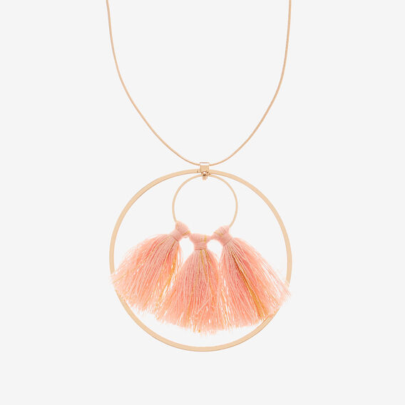Circle Tassel Necklace  GOLD/PINK  hi-res
