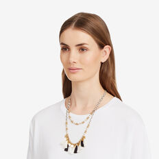 Layered Tassel Coin Necklace  GOLD  hi-res