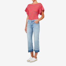 Frill Top  DUSTY RED STRIPE  hi-res
