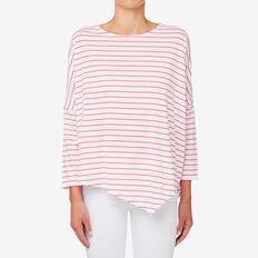 3/4 Sleeve Asymmetrical Sweat  DUSTY RED STRIPE  hi-res