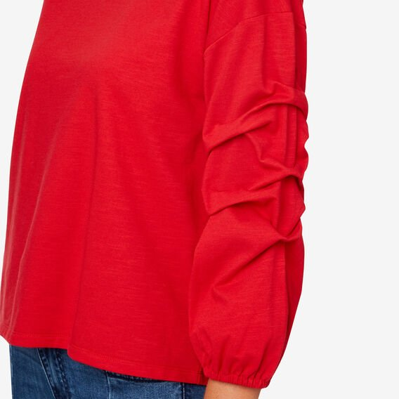 Gathered Sleeve Top  BOLD RED  hi-res