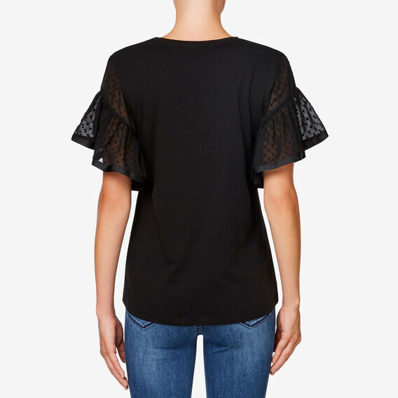 Frill Sleeve Dobby Top  BLACK  hi-res