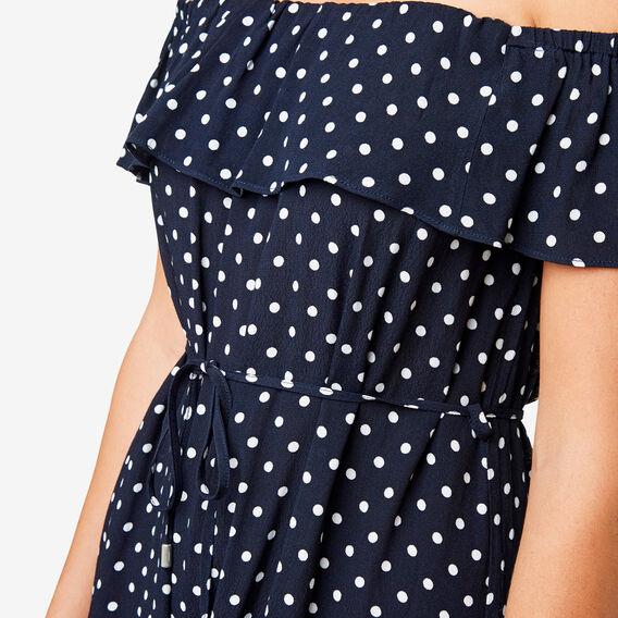 Off Shoulder Spot Dress  DEEP NAVY SPOT  hi-res