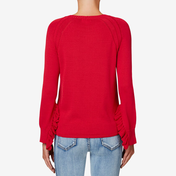 Frill Sleeve Knit  BOLD RED  hi-res