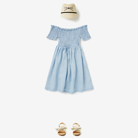 Shirred Chambray Dress  SOFT BLUE  hi-res