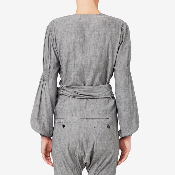 Blouson Sleeve Wrap Blouse  GREY CHAMBRAY  hi-res