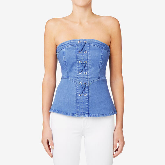 Lace Up Bodice  BLUEBELL DENIM  hi-res