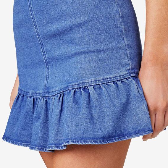 Frill Hem Skirt  BLUEBELL DENIM  hi-res
