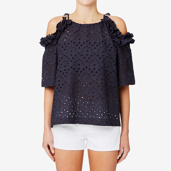 Broderie Cold Shoulder Top  DEEP NAVY  hi-res