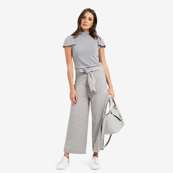 High-Neck Frill Sleeve Top  SILVER DUST  hi-res