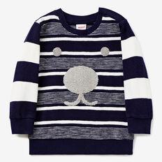 Slub Stripe Crew Sweater  MIDNIGHT BLUE  hi-res