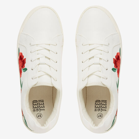 Floral Embroidered Runner  WHITE  hi-res