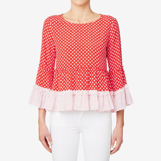 Stamp Print Frill Hem Top  ROYAL RED GEO  hi-res