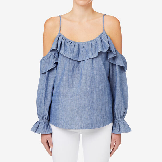 Cut Out Ruffle Top  CROSS DYE CHAMBRAY  hi-res