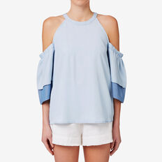 Double Frill Sleeve Top  SPRING BLUE  hi-res