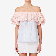 Embroidered Contrast Top  STRIPE  hi-res