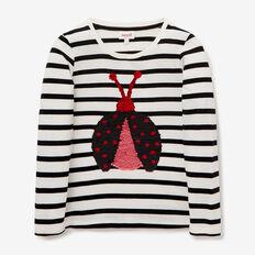 Flip Sequin Ladybug Tee  CANVAS/BLACK  hi-res