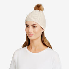 Pom Pom Cable Beanie  OAT  hi-res