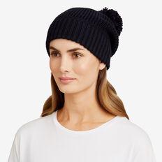 Simple Knit Pom Pom Beanie  NAVY  hi-res