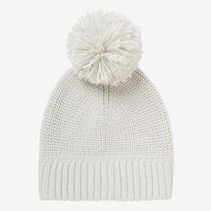 Simple Knit Pom Pom Beanie  SNOW MARLE  hi-res