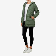 Sporty Puffa Jacket  KHAKI  hi-res