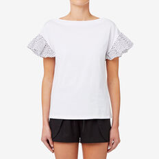 Spot Sleeve Top  BRIGHT WHITE  hi-res