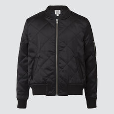 Quilted Bomber  BLACK  hi-res