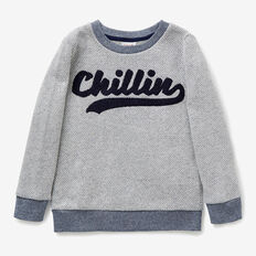 Chillin Slogan Sweater  MIDNIGHT BLUE  hi-res