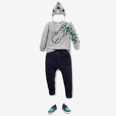Novelty Dino Sweater  GREY SPECKLE MARLE  hi-res