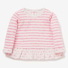 Double Knit Stripe Tee  BUBBLEGUM/CANVAS  hi-res