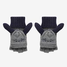 Kids Bunny Hood Gloves  STONE GREY MARLE  hi-res