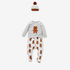 Fuzzy Bear T-Shirt Bodysuit  FOG GREY MARLE  hi-res