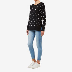 Contrast Pom Pom Sweater  BLACK  hi-res