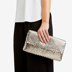 Metallic Mesh Clutch  PALE GOLD  hi-res