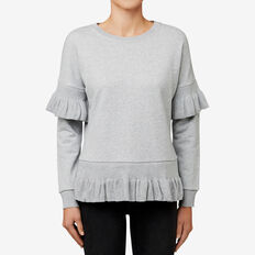 Frilly Trim Top  MID GREY MARLE  hi-res