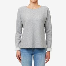 Reversible Sweater  CREAM/MID GREY MARLE  hi-res